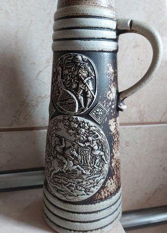 Piękny stary kufel niemiecki motyw rycerski. Bavaria. 1,3 l