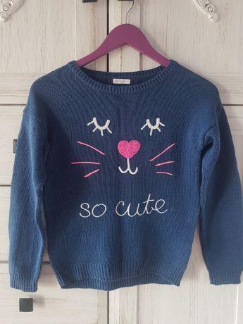 SMYK COOL CLUB 146 Sweter niebieski granatowy kot kotek