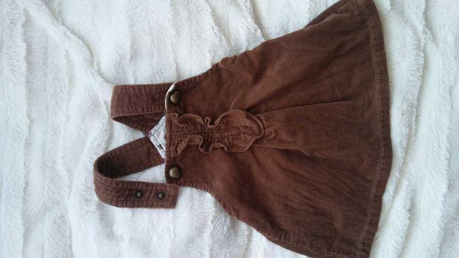 Sztruksowa sukieneczka zara 68cm 3-6miesiąc