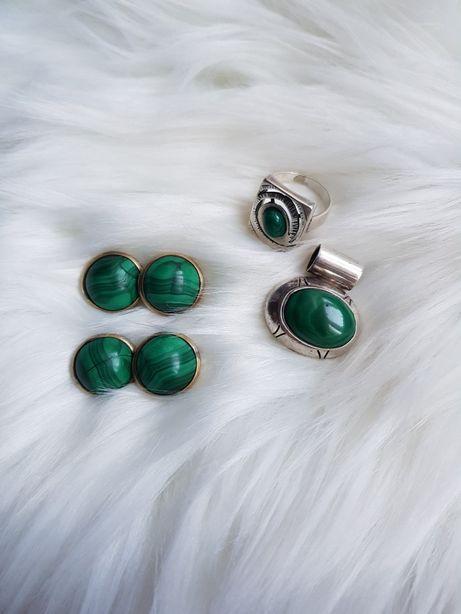 Srebrny komplet zielony malachit pierścionek zawieszka 925