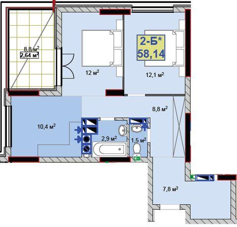2-х комнатная квартира, рассрочка