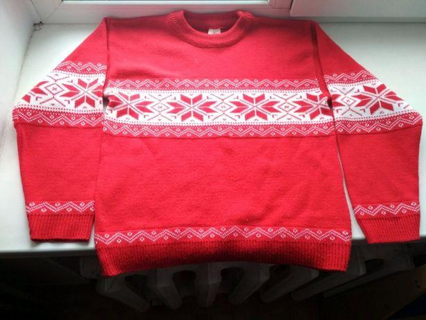 СРОЧНО! Красный теплый свитер кофта шерст новогодний не с оленям пулов
