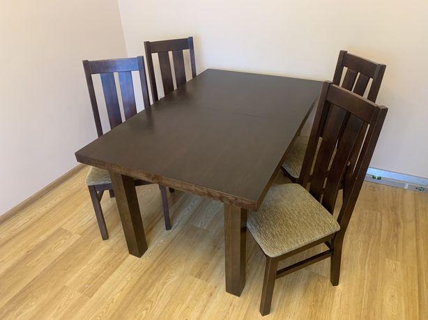 Stół drewniany + 4 krzesla kolor venge