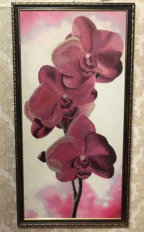Картина орхідеї вишиті чеським бісером