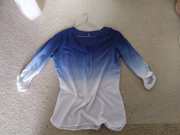 Carry koszula damska S cieniowana bluzka oversize biała niebieska