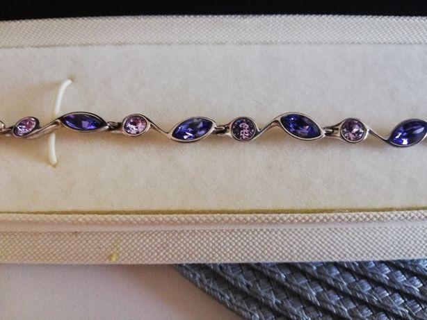bransoletka srebrna z niebiesko rózowymi oczkami