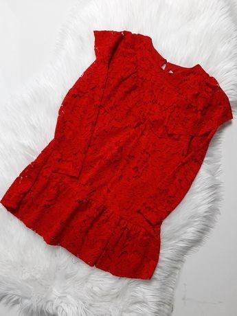 Sukienka Świąteczna Czerwona Koronkowa 128