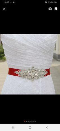 Nowy pas do sukni kryształki diamenty aplikacja
