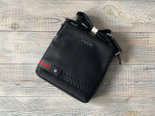Мужская кожаная сумка барсетка Gucci Гуччи