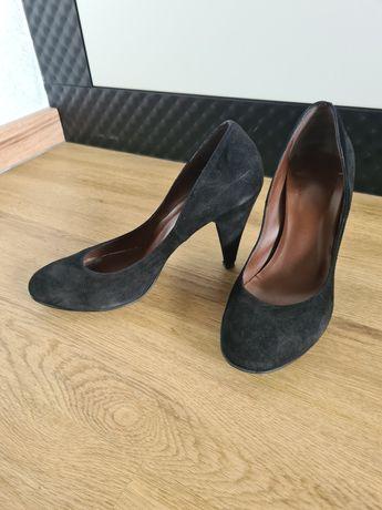 Skórzane, zamszowe pantofle włoskie, klasyk r.37