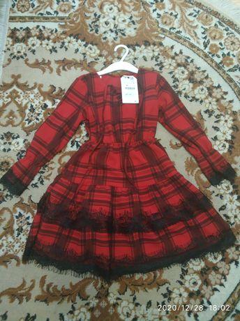 Sukienka Zara świąteczna czerwona kratka