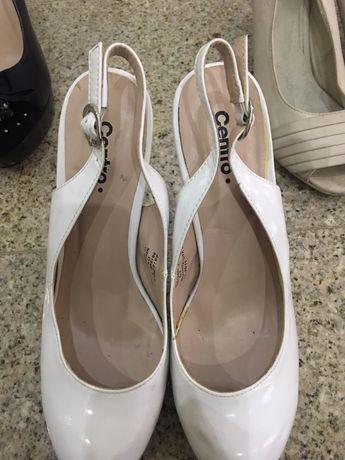 Buty na obcasie, szpilki ślubne biały 38 skóra gładka na lato
