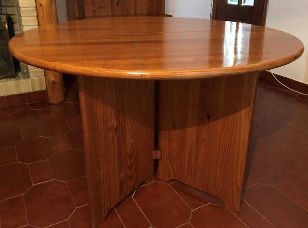 Mesa, 4 cadeiras, sofá e mesa de apoio em pinho maciço da Cerne, mel