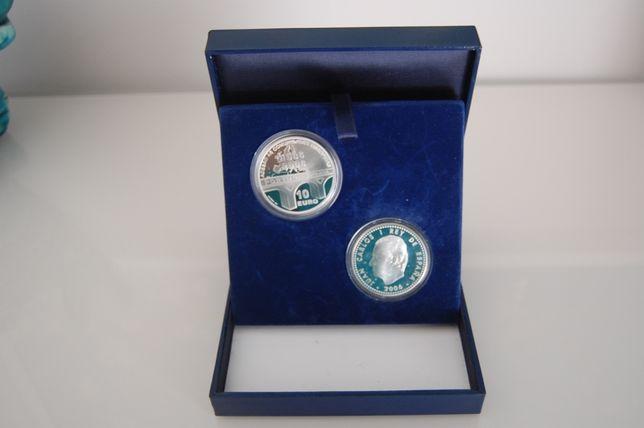 Coleção 20º Aniversário adesão Portugal e Espanha 2 X 10€ Prata Proof