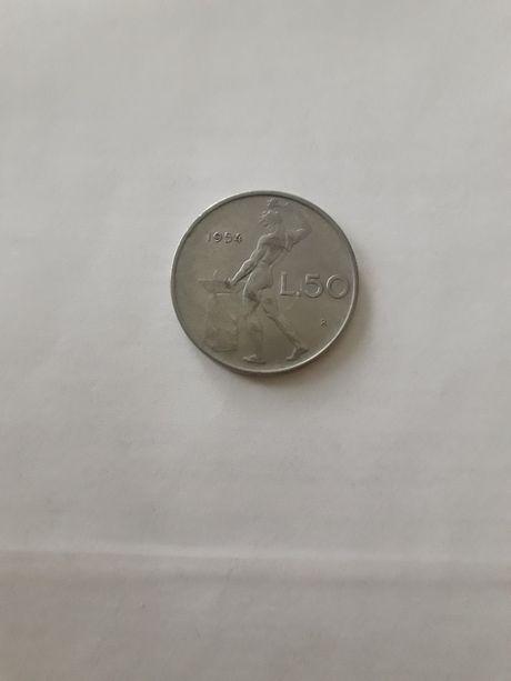 Монета 50 лир 1954 года - Италия