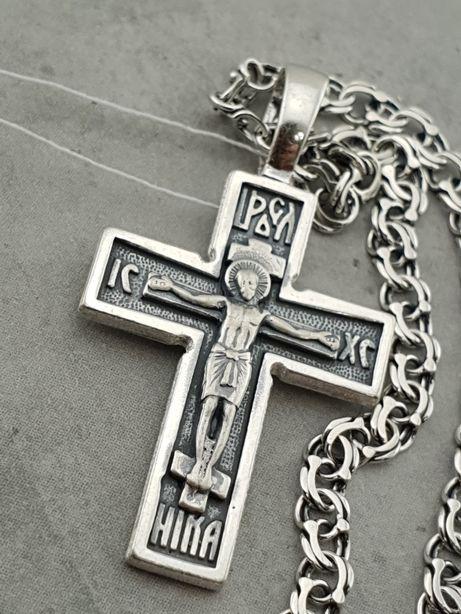 Комплект! Серебряная цепочка с крестиком. Цепь и крест с молитвой
