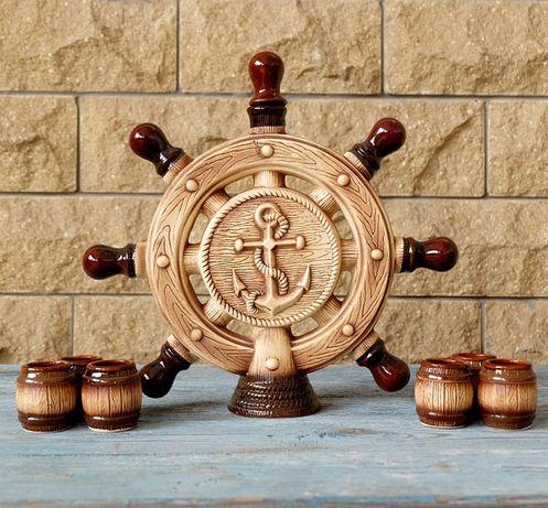"""Подарочный набор для моряка """"Штурвал"""", бутылка с рюмками, подарок"""