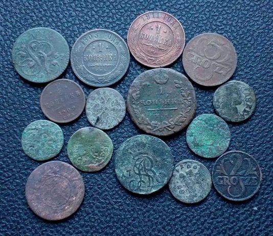Монеты Копейки, Боратинки, Грошы 1661-1923 (15 Шт)