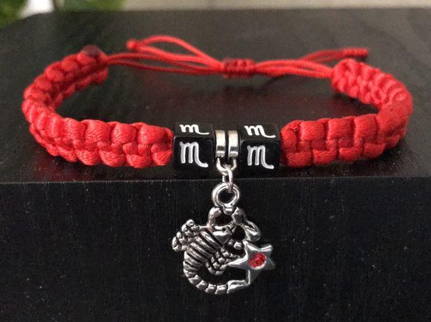 Плетеный красный браслет с подвеской со знаком зодиака. Все знаки