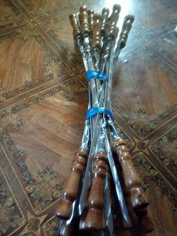 шампура с деревянной лакировонной ручкой