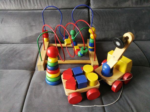 Drewniane zabawki klocki dźwig wieża Ikea mula