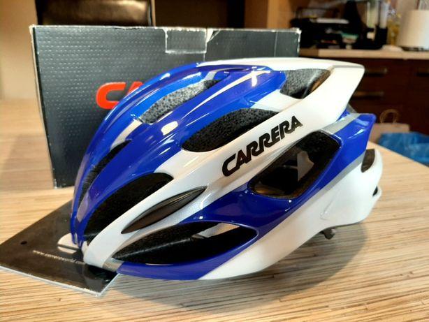 NOWY Kask rowerowy CARRERA biało/niebieski 54-57cm POLECAM Wysyłka