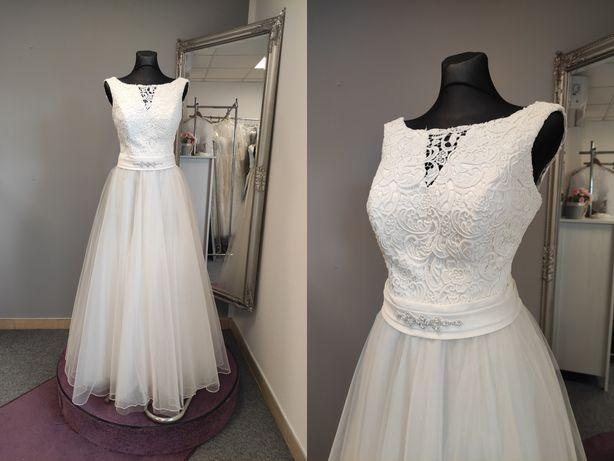 Suknia ślubna 42-46 ecru. 170 cm wzrostu bez obcasa