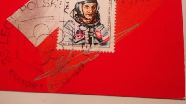 Astronauta Hermaszewski autograf walor filatelistyczny