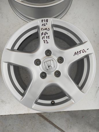 278 Felgi aluminiowe ORYGINAŁ HONDA R 16 5x114,3 otwór 64 Bardzo Ładne