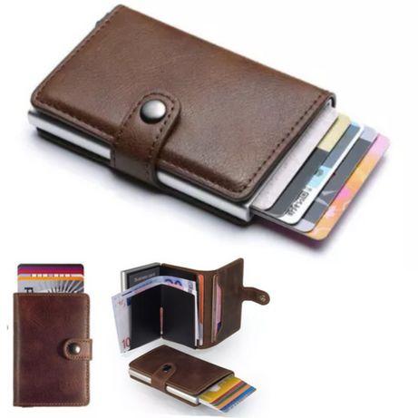 Carteira de Couro Fina - Slider Porta-Cartões Bloqueio RFID (Cor Cafe)