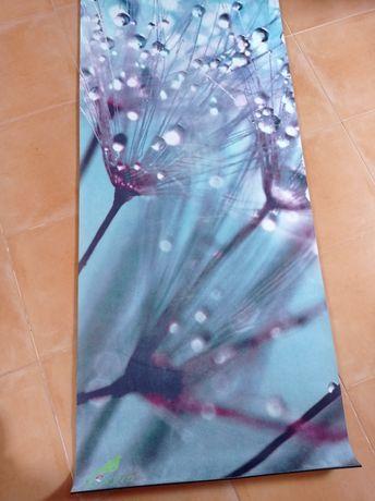 Tapete de yoga Skyin azul motivo floral