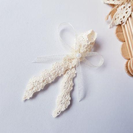KOTYLIONY, przypinki, kokardki weselne Rustykalne