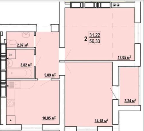 2 комнатная квартира на ЖК Гидропарк , новострой Z