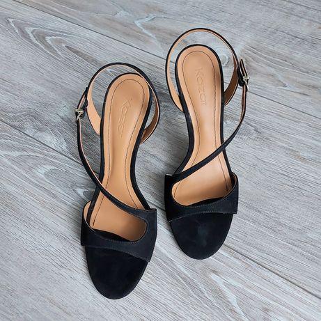 Szpilki sandały czarne Kazar