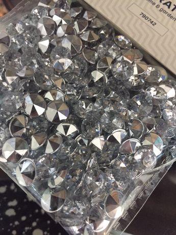 Diamenciki kryształki srebrne błyszczące dekoracyjne glamour nowe
