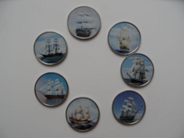 statki żaglowce monety kolorowe somalia zestaw 7 sztuk Marynistyka