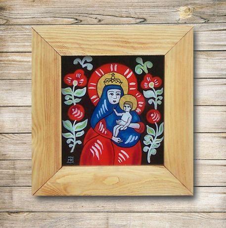 Matka Boska / Maryja z dzieciątkiem / Na szkle malowane