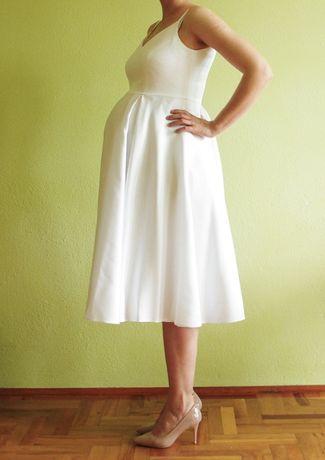 biała ciążowa suknia sukienka ślubna wizytowa za kolano
