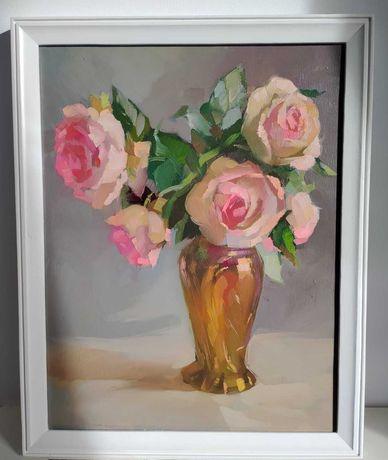 Картина маслом квіти рози