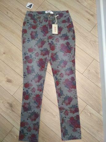 NOWE Spodnie lycra szare w kwiaty 36 s