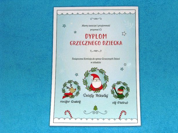 Dyplom Grzecznego Dziecka Boże Narodzenie święta dyplom pod choinkę