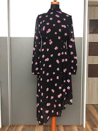 Sukienka 3/4 asymetryczna kolor czarno/różowy , rozmiar M