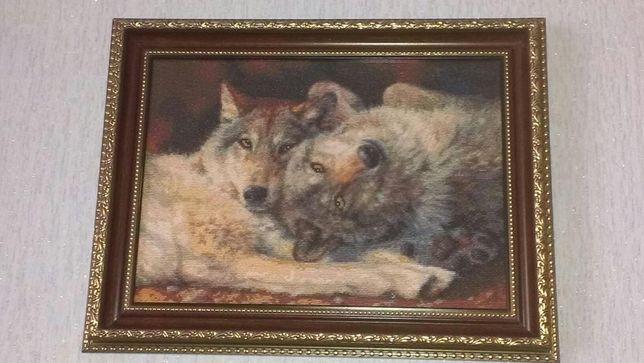 Картина вышыта хрестиком Kustom Krafts Счястливая пара (Волки)
