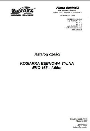 Katalog części kosiarka rotacyjna tylna EKO 165