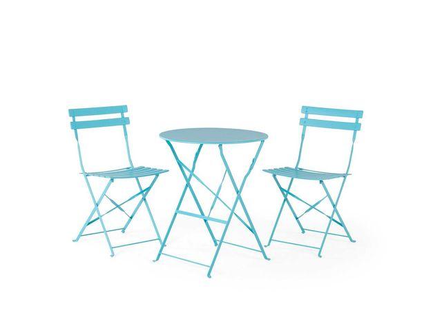 Conjunto de jardim em aço mesa e 2 cadeiras azul - NOVO
