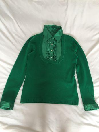 Zielony sweterek sweter z kołnierzykiem