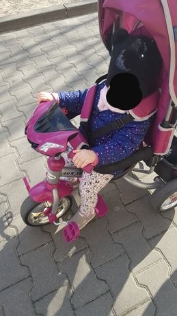 Rowerek Trójkołowy interaktywny LUX TRIKE BABY MIX różowy/bordowy