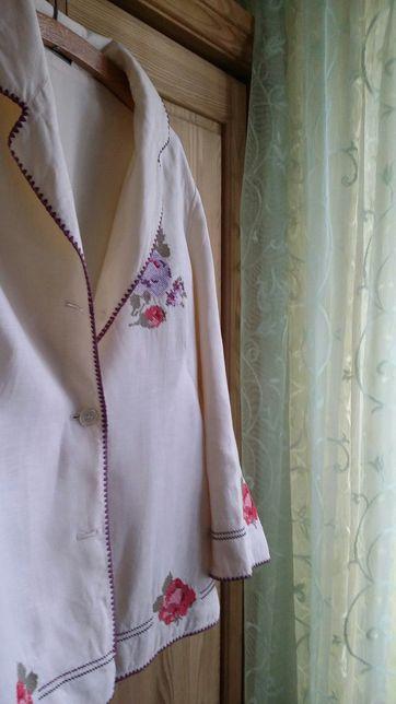 Lniany, haftowany kobiecy żakiet na podszewce 100 procent len