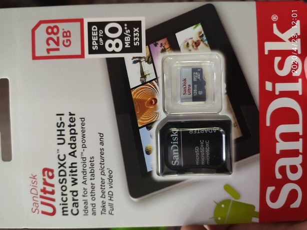San disk ultra 128 gb. 10 class + адаптер