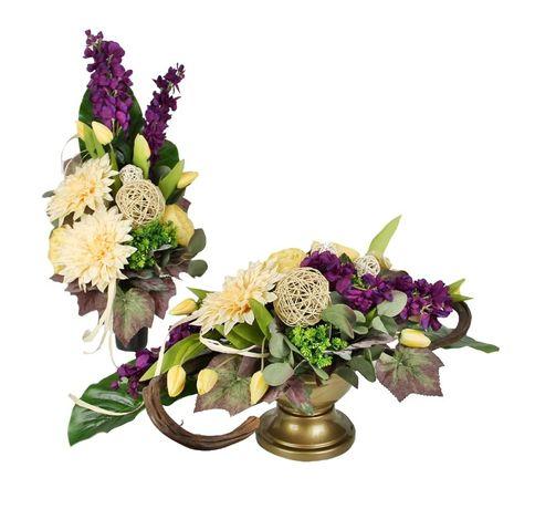 KPL. DUŻA WIĄZANKA + BUKIET Wiosenna z tulipanami, żółto - fioletowa